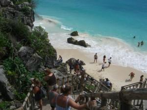 tulum down stairs to beach